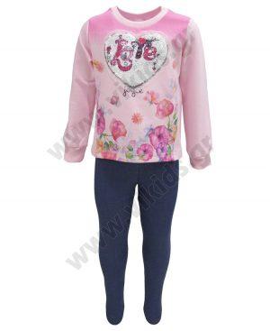 Εποχιακό σετ με κολάν και μπλούζα με παγιέτες ΚΑΡΔΙΑ 92206 ροζ