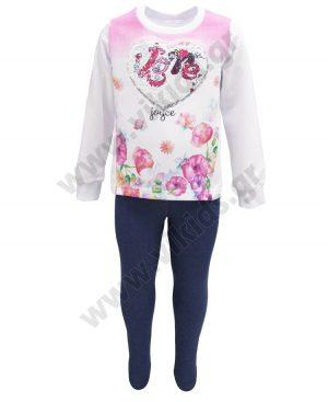 Εποχιακό σετ με κολάν και μπλούζα με παγιέτες ΚΑΡΔΙΑ 92206 λευκό