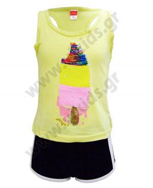 Σετ αμάνικη μπλούζα με παγιέτες ICE CREAM και σορτς 92742