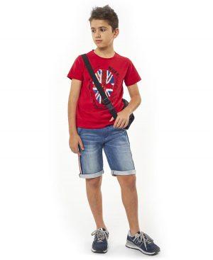 Σετ t-shirt με παγιέτες και τζην βερμούδα Hashtag 2727