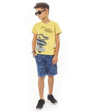 Σετ t-shirt SKATE BOARD και εμπριμέ βερμούδα Hashtag 2735