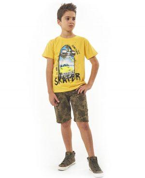 Σετ t-shirt SKATER και εμπριμέ βερμούδα Hashtag 2756