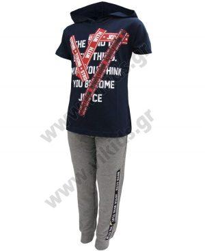 Σετ κοντομάνικη μπλούζα με κουκούλα και παντελόνι φόρμας 201411