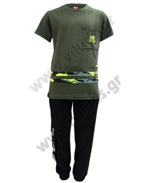Σετ με εποχιακό παντελόνι φόρμας και t-shirt GOOD VIBES 201412