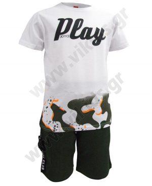 Σετ t-shirt PLAY και βερμούδα cargo 201428 Joyce