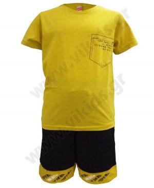 Σετ t-shirt JOYCE με παράσταση στην πλάτη και δίχρωμη βερμούδα 201437