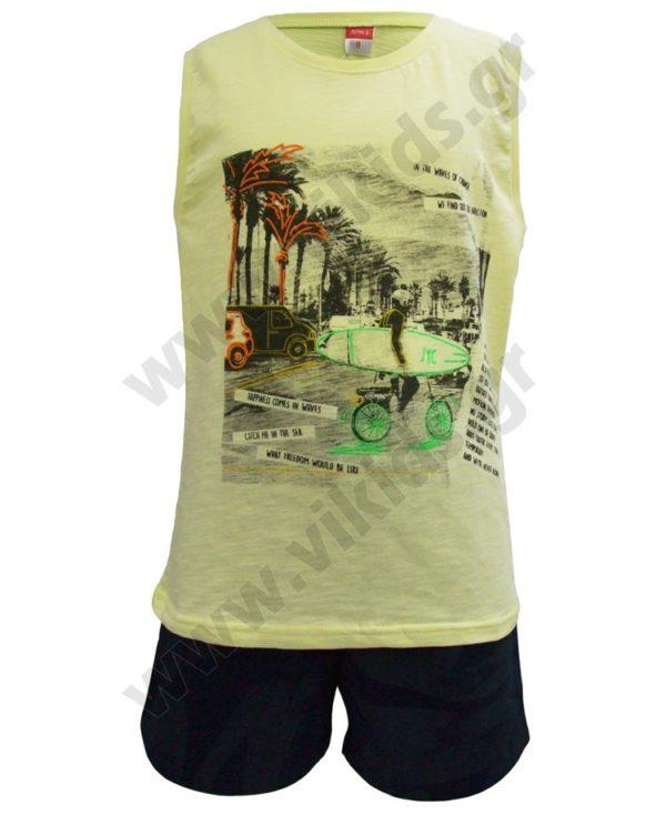 Σετ αμάνικη μπλούζα SURFER και βερμούδα 201461 Joyce λεμονί