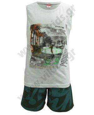 Σετ αμάνικη μπλούζα SURFER και βερμούδα 201461 Joyce φυστικί