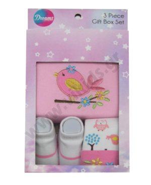 Βρεφικό σετ δώρου με κορμάκι σκουφάκι και κάλτσες 10008 ροζ