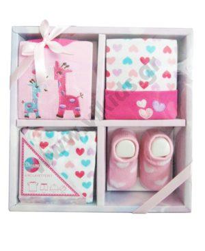 Βρεφικό σετ δώρου με μπλούζα σορτσάκι σκουφάκι και κάλτσες 10022 ροζ