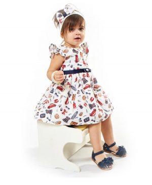 Βρεφικό εμπριμέ φόρεμα με κορδέλα ebita 2523