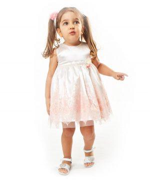 Βρεφικό σατέν φόρεμα με κεντητή δαντέλα και ασορτί κορδέλα ebita 2528
