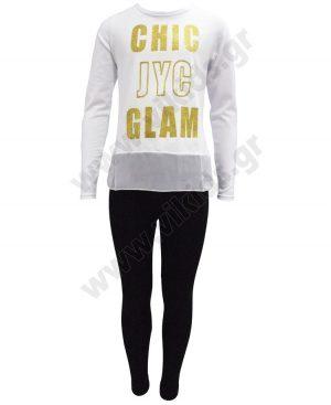 Εποχιακό σετ μακρυμάνικη μπλούζα CHIC GLAM και κολάν 201323