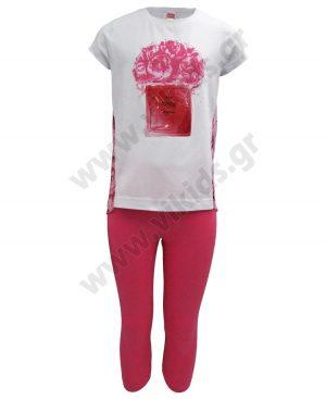 Σετ μπλούζα με φλοράλ πλάτη και ψαράδικο κολάν 201324 λευκό