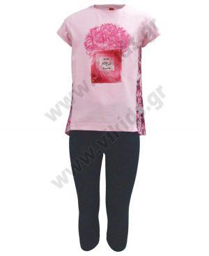 Σετ μπλούζα με φλοράλ πλάτη και ψαράδικο κολάν 201324 ροζ
