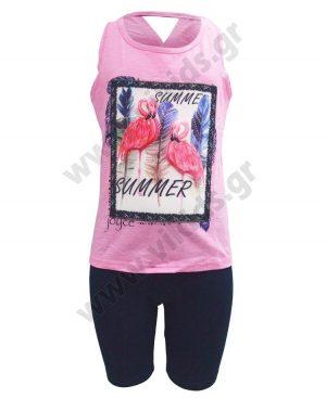 Σετ αμάνικη μπλούζα FLAMINGOS και ποδηλατικό κολάν 201342 φούξια