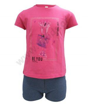 Σετ T-shirt BE YOU και σορτς με παγιέτες 201344 Joyce