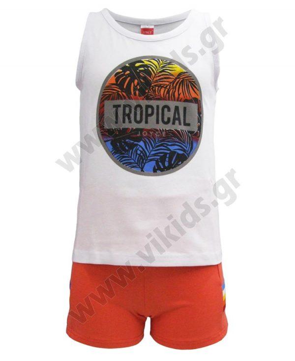 Σετ αμάνικη μπλούζα TROPICAL και σορτς 201349 Joyce λευκό