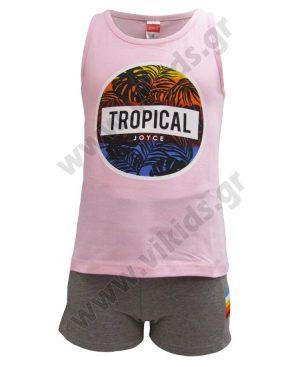 Σετ αμάνικη μπλούζα TROPICAL και σορτς 201349 Joyce ροζ