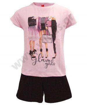 Σετ T-shirt GLAM GIRLS και ζιπ κιλότ 201361 Joyce