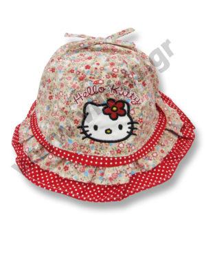 Εμπριμέ καπέλο με μπορντούρα HELLO KITTY 4130 κόκκινο