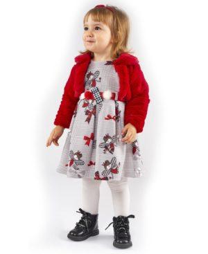 Κοντομάνικο καρώ φόρεμα και λούτρινο μπολερό ΕΒΙΤΑ 203236