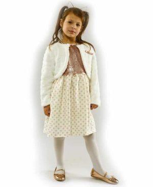 Κοντομάνικο φόρεμα με παγιέτες και λούτρινο μπολερό ΕΒΙΤΑ 203276