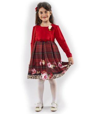 Μακρυμάνικο φόρεμα με καρώ και τσαντάκι ΕΒΙΤΑ 203290