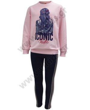 Σετ φούτερ με κολάν ICONIC STYLE 202313 ροζ