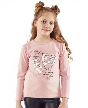 Ροζ μπλούζα LOVE 203112 ΕΒΙΤΑ
