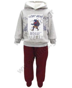 Σετ φόρμες φούτερ με κουκούλα LOST BEAR 202207 γκρι