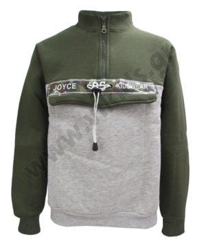 Μπλούζα φούτερ με φερμουάρ Joyce 202457 λαδί