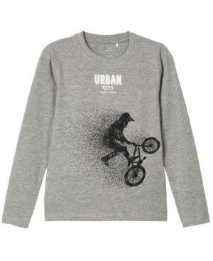 Μακρυμάνικη μπλούζα URBAN CITY nameit 9180-1 γκρι
