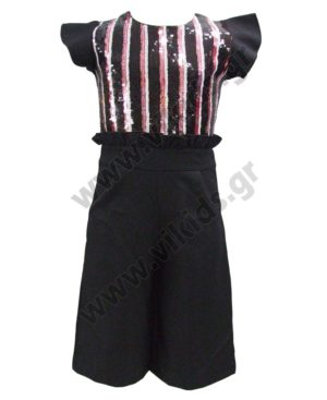 Ολόσωμη κοντομάνικη κάπρι φόρμα με παγιέτες ΕΒΙΤΑ 203037