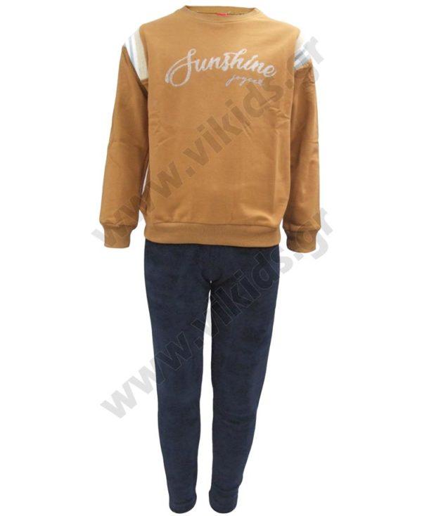 Σετ μπλούζα φούτερ SUNSHINE και βελουτέ παντελόνι 202317 μόκα