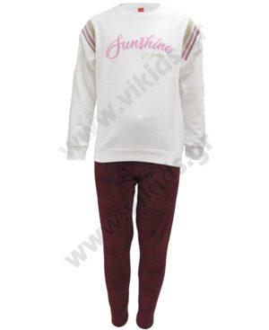 Σετ μπλούζα φούτερ SUNSHINE και βελουτέ παντελόνι 202317 υπόλευκο