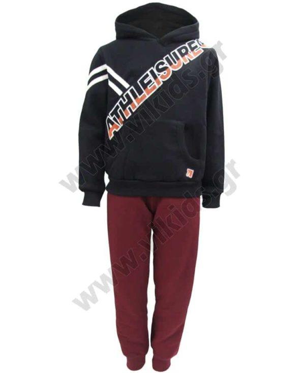 Σετ φόρμες φούτερ με κουκούλα ATHLEISURE 202407 μαύρο