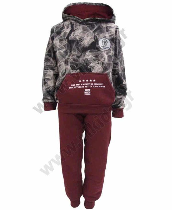 Σετ φόρμες φούτερ με κουκούλα POWER TEAM 202409 γκρενά