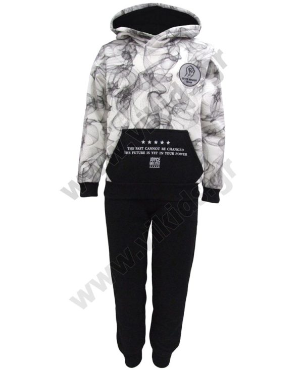 Σετ φόρμες φούτερ με κουκούλα POWER TEAM 202409 μαύρο