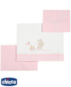 Σετ 3 τεμαχίων σεντόνια λίκνου Chicco 05142 ροζ