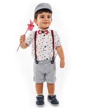 Βρεφικό σετ 5 τεμαχίων με πουκάμισο και τραγιάσκα Hashtag 214615