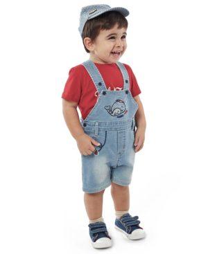 Βρεφικό σετ με T-shirt τζην σαλοπέτα και καπέλο Hashtag 214619