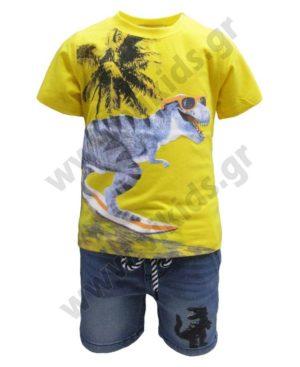 Σετ μπλούζα ΔΕΙΝΟΣΑΥΡΟΣ και τζην σορτς Hashtag 214846