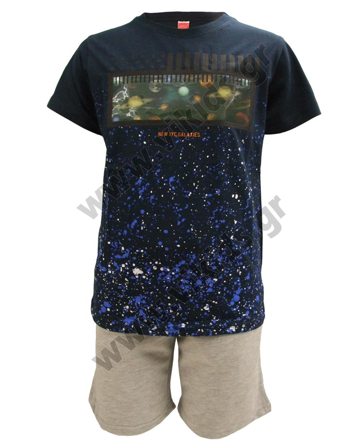 Σετ T-shirt με ολόγραμμα ΠΛΑΝΗΤΕΣ και βερμούδα 211727 Joyce