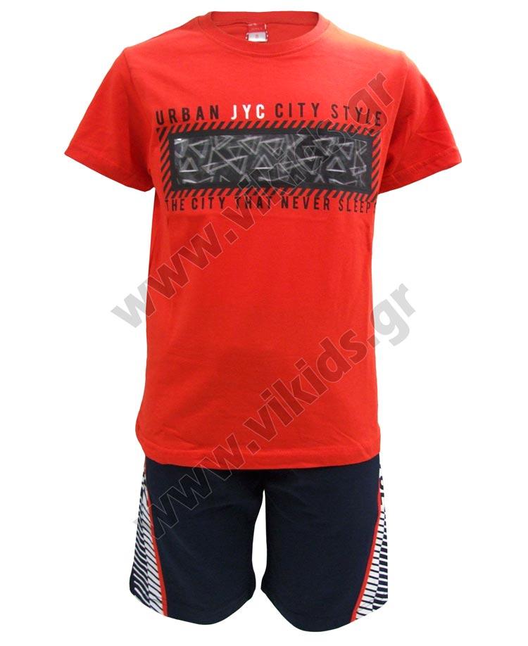 Σετ T-shirt CITY STYLE με ολόγραμμα και βερμούδα 211728 Joyce