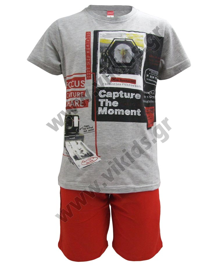 Σετ T-shirt CAPTURE THE MOMENT και βερμούδα 211733 Joyce γκρι