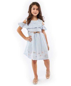 Ριγέ φόρεμα με κέντημα και ζώνη EBITA 214270