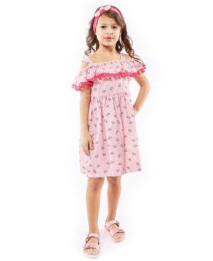 Ριγέ εμπριμέ φόρεμα με τρέσα EBITA 214273