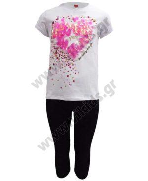 Σετ T-Shirt με καρδιά και κολάν κάπρι 211522 Joyce λευκό