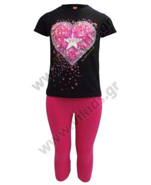 Σετ T-Shirt με καρδιά και κολάν κάπρι 211522 Joyce μαύρο